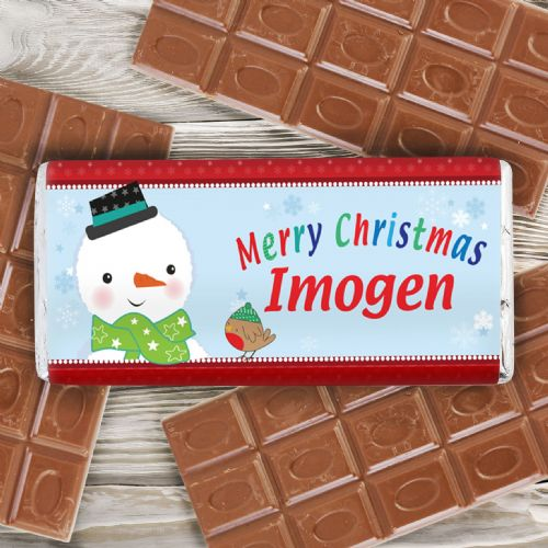 Personalised Snowman Chocolate Bar.